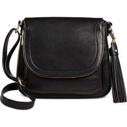 A+ Women's Faux Leather Winged Tote Handbag with Zippers - Black
