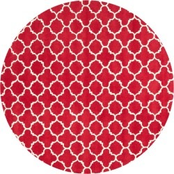 7' Quatrefoil Design Tufted Round Area Rug Red/Ivory - Safavieh, Size: 7' ROUND found on Bargain Bro Philippines from target for $359.99