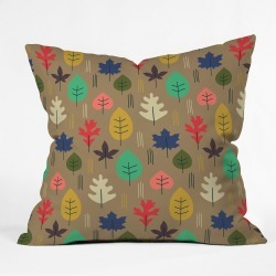 Zoe Wodarz Leaf It All Behind Oversize Square Throw Pillow Brown - Deny Designs