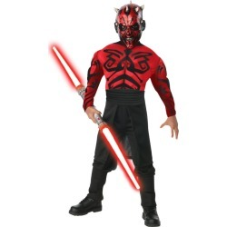 Halloween Star Wars Darth Maul Boys' Muscle Chest Deluxe Costume Small (4-6), Boy's, Size: Small(4-6), Black