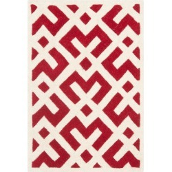 Red/Ivory Geometric Tufted Accent Rug 2'X3' - Safavieh