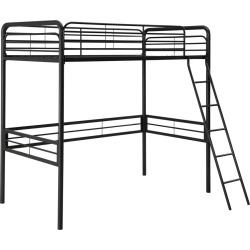 Metal Loft Bed (Twin) Black - Room & Joy