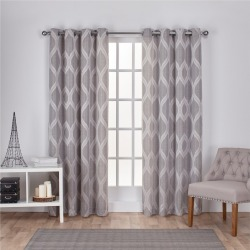 Montrose Ogee Geometric Textured Linen Jacquard Grommet Top Window Curtain Panel Pair Ash Gray (54