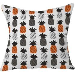 "Black Zoe Wodarz Pineapple Pum Packin Throw Pillow (20""x20"") - Deny Designs, Orange Black"