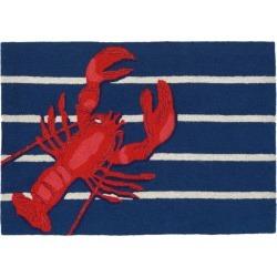 """Frontporch Indoor/Outdoor Lobster On Stripes Rug 20""""X30"""" Navy - Liora Manne, Size: 1'8""""x2'6"""", Blue"""