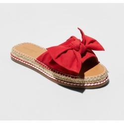 Women's Sigma Wide Width Bow Espadrille Sandals - Universal Thread Red 5.5W, Size: 5.5 Wide