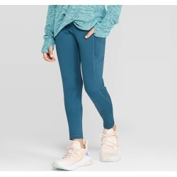 Girls' Super Soft Performance Leggings With Pockets - C9 Champion Jade Green L, Girl's, Size: Large, Green Green found on Bargain Bro India from target for $19.99