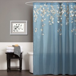 Flower Drops Federal Shower Curtain Blue/White - Lush Decor found on Bargain Bro India from target for $30.99