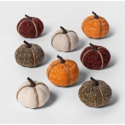 Halloween 8ct Mini Fabric Pumpkins Halloween Decoration Solid - Spritz