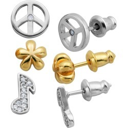 Lulabelle Girls' 3 Piece CZ Music Note, Flower, & Peace Stud Earring Set, Girl's, Gold Silver found on Bargain Bro India from target for $39.99