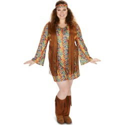 Women's 60's Hippie with Fringe Costume 1X, Multi-Colored