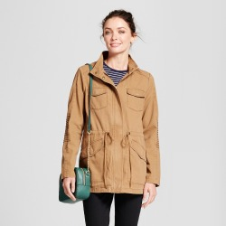 Women's Twill Anorak Hooded Jacket - A New Day Tan L