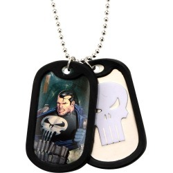 Men's Marvel Punisher Double Stainless Steel (Silver) Dog Tag and Rubber Silencers (22)