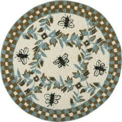 3' Bee Hooked Round Accent Rug Ivory/Blue - Safavieh, Size: 3' ROUND found on Bargain Bro India from target for $76.49