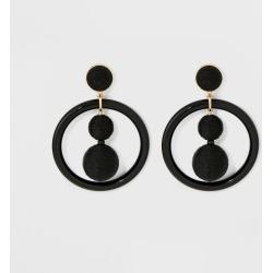 SUGARFIX by BaubleBar Whimsical Hoop Earrings - Black, Women's