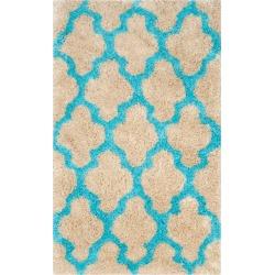 Leila Printed Shag Rug - Cream/Blue (3'X5') - Safavieh, Size: 3'X5', Ivory/Blue