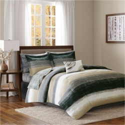 Seth Striped Complete Multiple Piece Comforter Set (California King) 9-Piece, Brown found on Bargain Bro India from target for $109.00