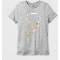 "petiteWomen's Short Sleeve ""Duo"" Graphic T-Shirt - Heather Gray XL"