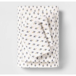 California King Printed Pattern Flannel Sheet Set Blue Floral - Threshold found on Bargain Bro India from target for $32.99