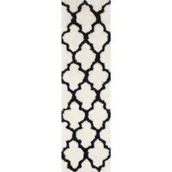 "Leila Printed Shag Rug - Ivory/Black (2'X7') - Safavieh, Size: 2'3""X7' RUNNER"