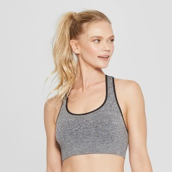 Women's Seamless Racer Back Sports Bra - C9 Champion Black Heather XL, Black Grey found on Bargain Bro India from target for $16.99