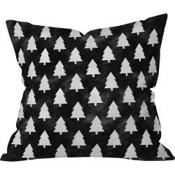 "16""x16"" Nature Leah Flores Black Forest Throw Pillow Black - Deny Designs"