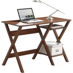 Stylish Workstation with Side Shelves - Techni Mobili, Brown