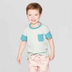 petiteToddler Boys' Short Sleeve Colorblock Pocket T-Shirt - Cat & Jack Aqua 5T, Boy's, Blue found on Bargain Bro India from target for $5.10