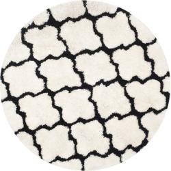 Leila Printed Shag Rug - Ivory/Black (5'X5') - Safavieh, Size: 5' ROUND