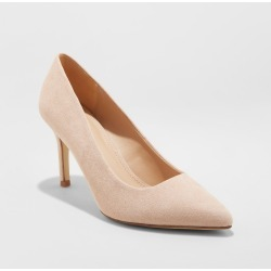 Women's Gemma Wide Width Pointed Toe Heel Pumps - A New Day Blush 7W, Size: 7 Wide found on Bargain Bro India from target for $29.99
