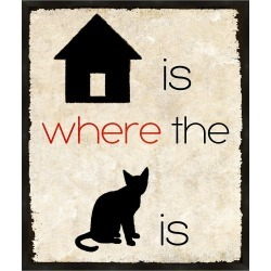 Home Is Where The Cat Is Wall Art, Black