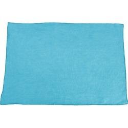Fringed Design Stone Washed Placemats Ocean Blue (Set of 4), Blue Blue