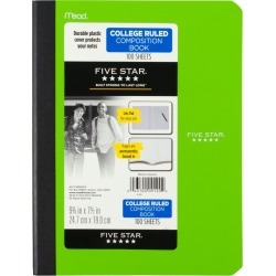 "6ct Composition Notebook College Ruled 9.75"" x 7.5"" Classic Colors - Five Star"