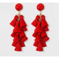 SUGARFIX by BaubleBar Multi-Tassel Drop Earrings - Red, Women's