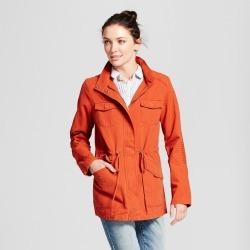 Women's Twill Anorak Hooded Jacket - A New Day Burnt Orange L