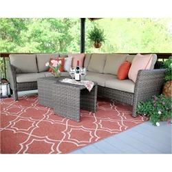 Canton 6pc All-Weather Wicker Patio Corner Sectional Seating Set - Brown/Tan - Leisure Made