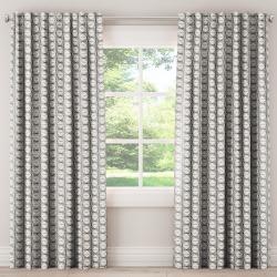 Unlined Curtains Block Print Cream 120L - Skyline Furniture, Block Print Ivory
