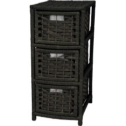 """Oriental Furniture 25"""" Fiber Occasional Chest of Drawers Black"""