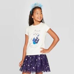 petiteGirls' Short Sleeve Dreidel Cat Graphic T-Shirt - Cat & Jack Cream XL, Girl's, Beige