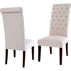 Tufted Tall Dining Chair Natural (Set of 2) - Christopher Knight Home