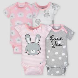 Gerber Baby Girls' 4pk Bunny Short Sleeve Onesies Bodysuit - Pink/Gray Newborn
