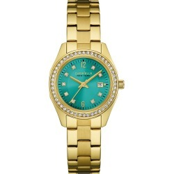 Women's Caravelle New York Crystal Accent Stainless Steel Bracelet Watch 44M109 - Bright gold, Size: Small, Blue Gold found on Bargain Bro India from target for $53.01
