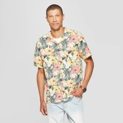Men's Slim Fit Floral Print Short Sleeve Button-Down Shirt - Goodfellow & Co Mint Sweep XL, Men's, Green Sweep