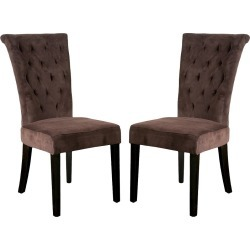 Venetian Velvet Dining Chairs - Dark Chocolate (Set of 2) - Christopher Knight Home, Brown