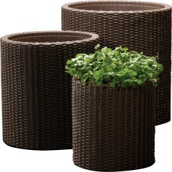 Cylinder Rattan Planter Set Of 3 - Brown - Keter