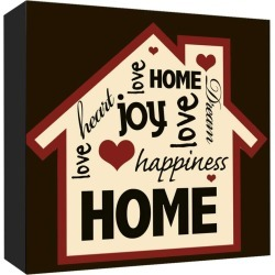 "Home Happiness Decorative Canvas Wall Art 16""x16"" - PTM Images"