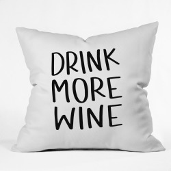 Chelcey Tate Drink More Wine Square Throw Pillow Black/White - Deny Designs, White Black