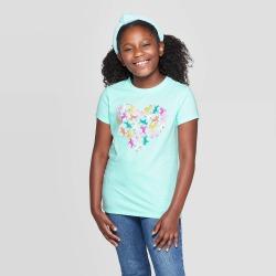 petiteGirls' Short Sleeve Unicorn Heart Graphic T-Shirt - Cat & Jack Aqua XL, Girl's, Blue