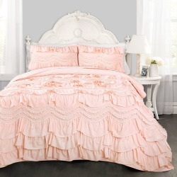 Lush Decor Full/Queen 3pc Kemmy Quilt & Sham Set Blush found on Bargain Bro India from target for $79.99