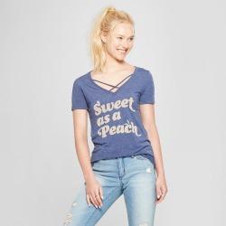 petiteWomen's Short Sleeve Sweet as a Peach Graphic T-Shirt - Awake Navy XL, Blue